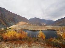 Golden Autumn In Phander Valley, Phander Lake, Ghizer District, Gilgit Baltistan, Pakistan. Beautiful Landscape Of Golden Autumn In Phander Valley, Phander Lake Stock Images