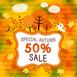 Golden autumn. Poster card with the different tree leaves. Fully editable vector illustration. Perfect for informational plates and frames, greeting cards Royalty Free Stock Photography