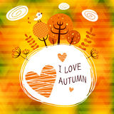 Golden autumn. Poster card with the different tree leaves. Fully editable vector illustration. Perfect for informational plates and frames, greeting cards Royalty Free Stock Photo