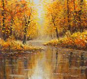 Golden autumn in river. Yellow oil painting. Art.