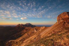 Golden autumn on the slopes of the mountains of the Caucasus and Royalty Free Stock Image