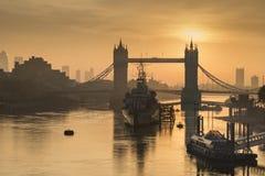 Golden Autumn sunrise over Tower Bridge in London. Stock Photography