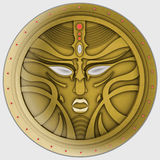 Golden avatar, coin, mask or signet. Magic Logo an. Golden avatar, coin, seal or signet. Fantasy magic abstract mask spirit character face print. Logo or icon or royalty free illustration