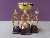 Golden award cups Trophys stock photo