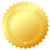 Golden award medal. Golden award emblem isolated on white Stock Photo