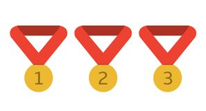 Golden award medals. With red ribbons. First, second and third place Stock Images