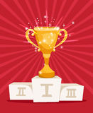Golden award prize cup on podium. With sparkles. Vector illustration Stock Photography