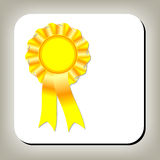 Golden award ribbon Stock Photo