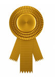 Golden award ribbon. Isolated over white background Royalty Free Stock Photography