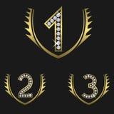 Golden award set. Award set encrusted with diamonds. Golden Laurel wreaths, Vector Illustration Stock Images