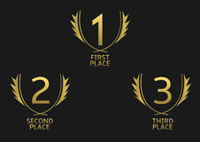 Golden award set. First, second and third place icons. Golden award symbol set Royalty Free Stock Images
