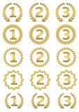 Golden award set. First, second and third place symbols with laurel wreath Stock Image
