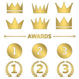 Golden award set. First, second and third place symbols with laurel wreath. Crown set Royalty Free Stock Images