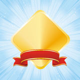 Golden award on strip blue background Royalty Free Stock Photo