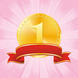 Golden award on strip pink background Stock Image