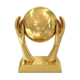 Golden award trophy with hands and soccer ball Royalty Free Stock Images