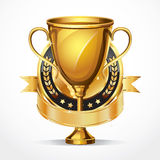 Golden award trophy and Medal. Royalty Free Stock Photo