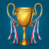 Golden award trophy and ribbon. Stock Image