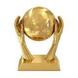 Golden award trophy with stars, hands and basket b Royalty Free Stock Photo