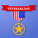 Golden award with veterans day text on banner. USA star medal congratulation icon. American military badge. Stock Photo