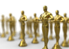 Golden awards. 3D render image representing a group of Shiny Elegant Golden Award Royalty Free Stock Images