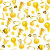 Golden Awards, seamless pattern. Isolated on the white Stock Photos