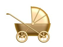 Golden baby carriage. Isolated on white background Stock Images