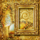 Golden background. With blank antique frame Royalty Free Stock Photo