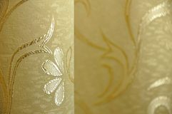 Golden Background. For cards, illustrations, etc. Flowers on fabric Royalty Free Stock Images