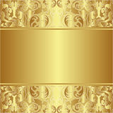 Golden background. With floral ornaments Stock Photos