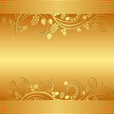 Golden background. Decorated floral ornaments Royalty Free Stock Image