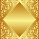 Golden background. Decorated baroque ornaments Royalty Free Stock Photography