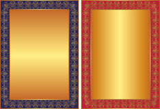 Golden background. With blue and red frame and ornaments Stock Photo