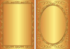 Golden background. With decorative frame Royalty Free Stock Photography