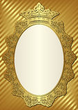 Golden background. With decorative frame and crown Royalty Free Stock Photography