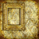 Golden background. With antique frame Royalty Free Stock Image