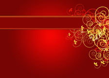 Golden background with banner. Golden and red background with copy space and florals Stock Photos