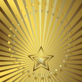 Golden background with beams. Golden background with silvery beams and stars stock illustration