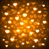 Golden background with blurry hearts. And stars, illustration Royalty Free Stock Image