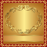 Golden background. With border - vector illustration Royalty Free Stock Photography