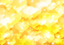 Golden background of the bright hearts. Abstract golden background of the bright hearts and star Royalty Free Illustration