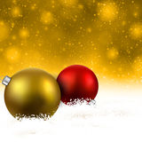 Golden background with christmas balls. Golden christmas background with colorful decorative balls. Vector illustration Stock Images