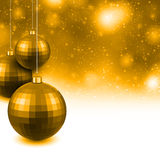 Golden background with christmas balls. Golden christmas background with decorative balls. Vector illustration Stock Photos