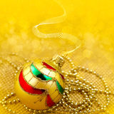 Golden background with christmas decor Royalty Free Stock Photography