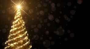 Golden background with Christmas tree. Royalty Free Stock Photos