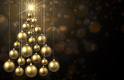 Golden background with Christmas tree. Golden New Year background with Christmas balls. Vector illustration Stock Images