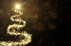 Golden background with Christmas tree. Golden background with shining abstract Christmas tree. Vector illustration Stock Photography