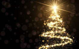 Golden background with Christmas tree. Golden background with shining abstract Christmas tree. Vector illustration Royalty Free Stock Photo