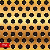 Golden background with circular holes Stock Image
