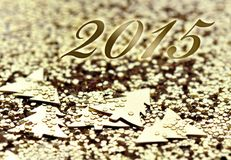 2015 on golden background Royalty Free Stock Photos